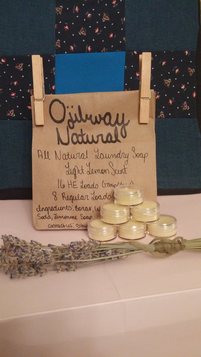 natural laundry soap packaged in paper bag coconut lip balm dried lavender