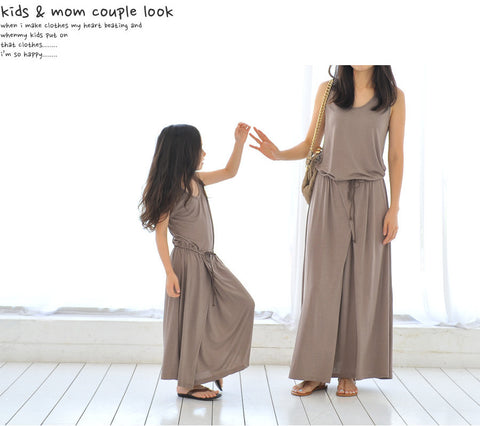 Family Matching Outfit Mother And Daughter Family Prom Dresses Summer Fashion Long Modal Child Clothes Teenager Girls Maxi Dress