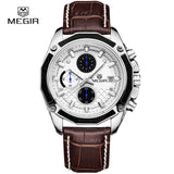 MEGIR Official Quartz Men Watches Fashion Genuine Leather Chronograph Watch Clock for Gentle Men Male Students Reloj Hombre 2015