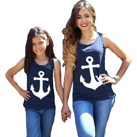 Mother And Daughter Clothes T shirt Summer Kawaii Anchor Print Bow Sleeveless Mommy And Me Clothes Top Family Matching Outfits