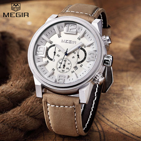 Sports Mens Watches Chronograph Nubuck Genuine Leather Military Quartz Watch Men Large 3D Dial Brand MEGIR Waterproof Clock 3010