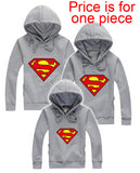 Family Matching Outfits Family Fitted Superman Hoodies Father Mother Kids Cotton Clothes Spring Autumn Outwears Free Shipping