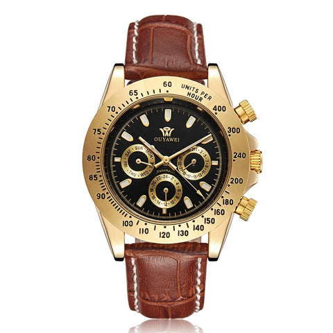 OUYAWEI Fashion Leather Mechanical Watches Golden Watch Mens Watch Top Brand Luxury Montre Homme Clock Men Automatic Wrist watch
