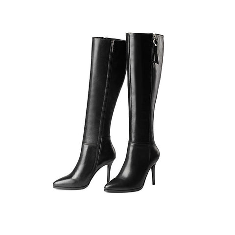 WETKISS Genuine Leather Microfiber Women Knee Boots Sexy Thin High Heels Pointed toe Autumn Winter Boots Fashion Women's Shoes