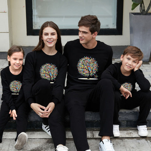 Family Long Sleeve Pullovers Printing Flowers Tree Father Mother Kids Sweaters Cotton Family Matching Outfits Black Red Gray