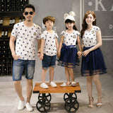 Star Print Family Matching Clothes Father Mother and Daughter Son Summer Matching T-shirts for Dad & Son Dress for Mom and Girls