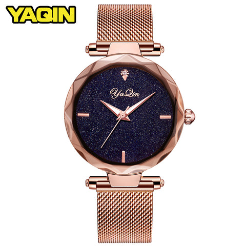 YAQIN luxury brand fashion women watch ladies steel mesh strap rose gold bracelet watch quartz watch female clock reloj mujer