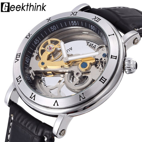 Top brand Skeleton Tourbillon automatic Mechanical Watch Men's luxury business men Wristwatch self wind Relogio Masculino