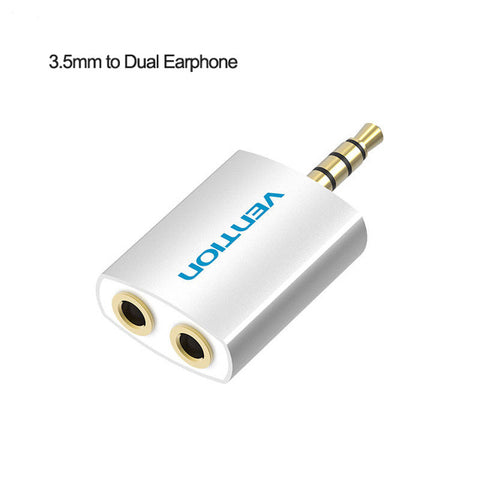 Vention 3.5mm Earphone Audio Splitter Connecter Adapter with mic 1 Male to 2 Female For Headphone PC Mobile Phone Mp3 Mp4