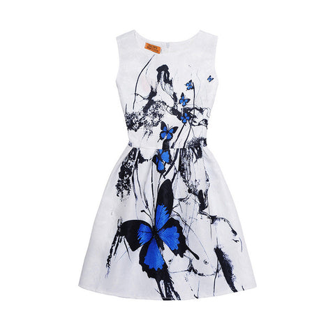 New Fashion Butterfly Print Mother Daughter Clothes Family Look Mother Daughter Dresses Family Matching Outfits Kids Clothes