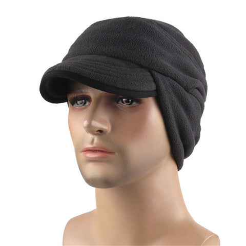 Windproof Cap Outdoor Warm Fleece Earflap Hat with Visor