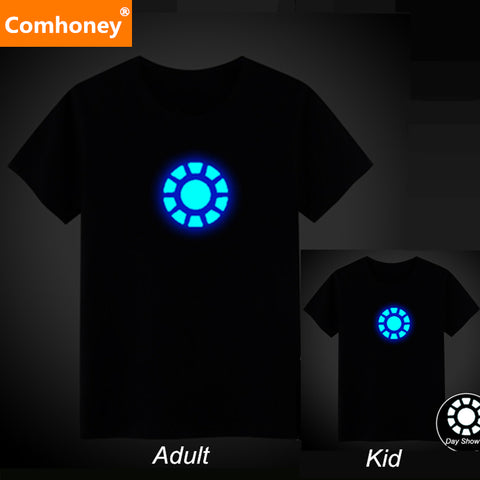 Family Matching Outfits Father Son Summer Night Light T Shirt Cotton Mother&Kids Short Sleeve T-shirts Teenagers Party Club Tee