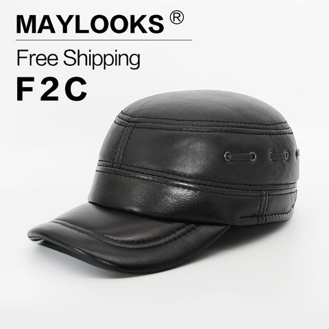 Maylooks 2017 New Fashion Men's Scrub Genuine Leather Baseball Winter Warm Baseball Hat / Cap for Men Casual Hats CS53