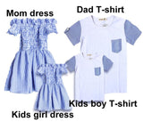 Summer Family Matching Outfits Mom And Daughter Striped Dress Dad And Son Short T-shirt Family Clothing Set Children Clothing