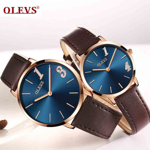 Ultra thin Couple watches 2018 Top brand Luxury Genuine Leather Casual Quartz Waterproof Wrist Watch for Lover Relogio Masculino