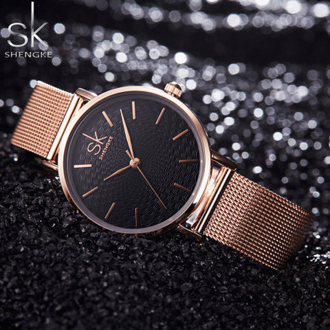 Shengke Luxury Brand Women Watches Gold Quartz Watch Women Clock Stainless Steel Fashion Design Montre Femme Rologio Feminino
