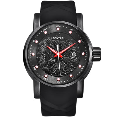 BENYAR New Style 3D rubber band Men's Watch Gift Waterproof Clock Casual Military Male Sport Punk Black Quartz Wrist Watches Man