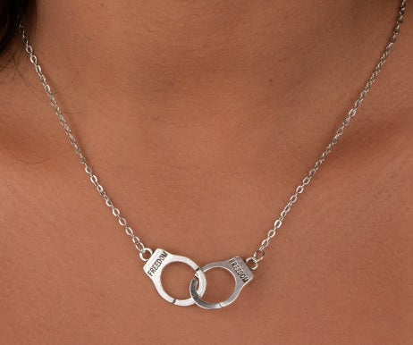 Crafted Silver Handcuff Freedom Necklace