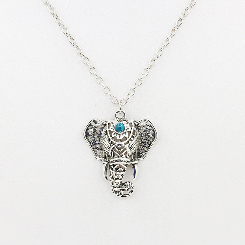 Ethnic Clavicle Necklace Boho Vintage Elephant Turquoise Pendant Collar