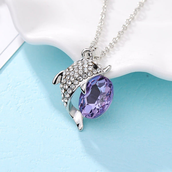 Dolphin Blue Crystal Necklace