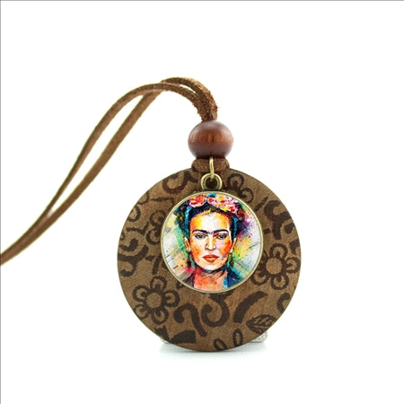 Frida Kahlo Wood Necklace