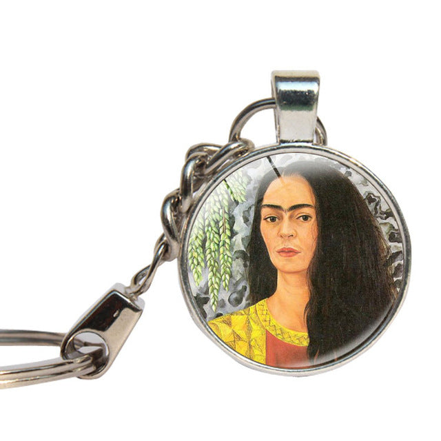 Frida Kahlo Keychain Glass Cabochon Famous Women Painting Key Ring Glass Dome Vintage Artist Key Chains Jewelry Key Holder