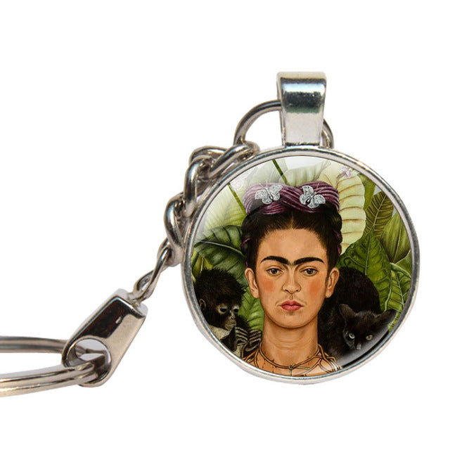 Frida Kahlo Keychain Glass