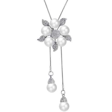Silver Chain Big Flower Pearl Necklace