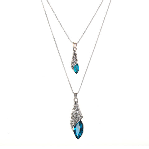 Blue Crystal Water Drop Necklace