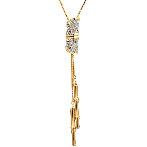 Bamboo pendant Long Krean Style Necklace