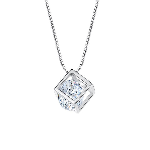 Cube Crystal Pendant Necklace