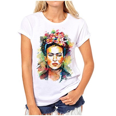 Frida Kahlo Print T shirt Short Sleeve Round Neck Top Tees