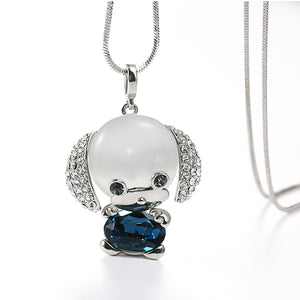 Dog Opal Crystal Dog Pendant Necklace