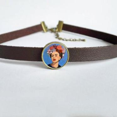 Frida Kahlo Leather Chocker Necklace