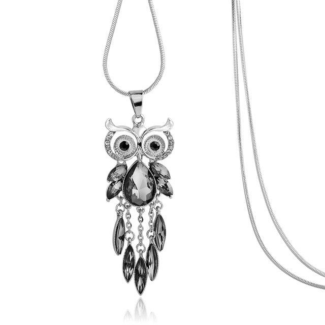 Elegant Owl Grey Crystal Long Necklace
