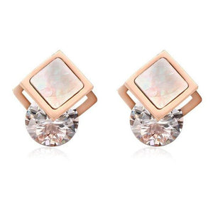 Squared Cubic Zirconia Stainless Steel Earrings