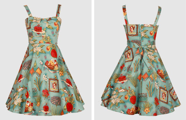 Frida Kahlo Dress Summer Vintage Strap Elbise Dress