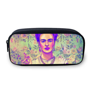 Frida Kahlo Pencil Case - Travel Make Up bag Organizer - Coin Change Bag