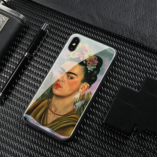 Frida kahlo High Protection Tempered Glass Phone Case
