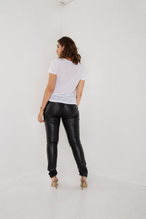 Tall Black Synthetic Leather Skinny Pants