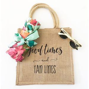 Good Times and Tan Lines Burlap Tote Bag - Lucky Maiden