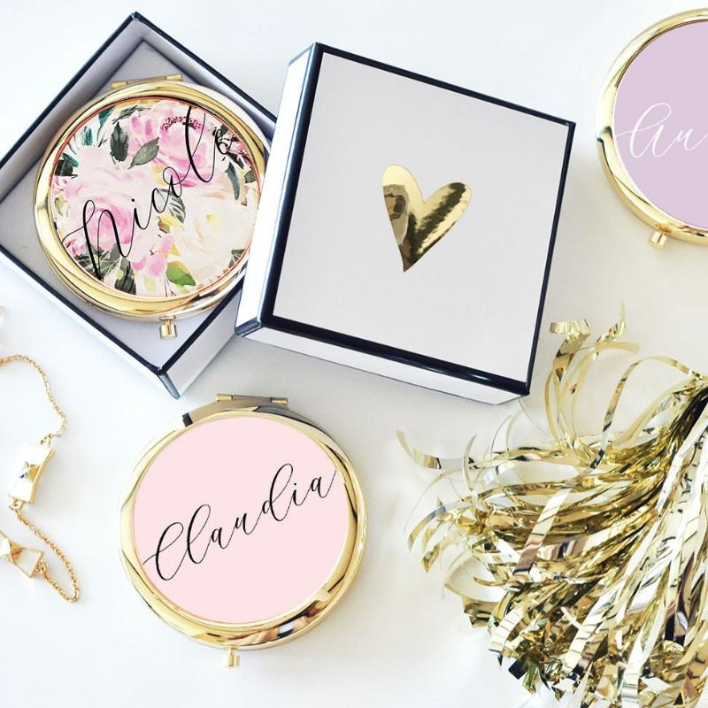 Personalized Compact Mirror with Gift Box - Lucky Maiden