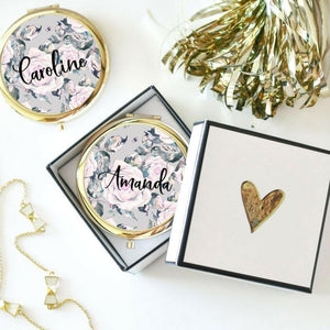 Rose Theme Custom Compact Mirror - Lucky Maiden