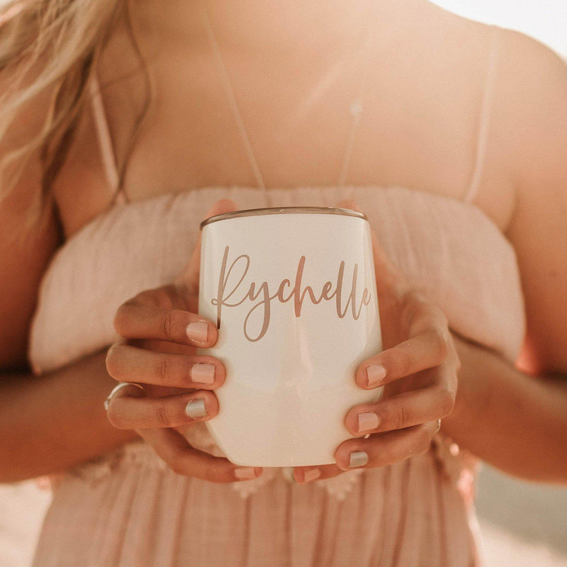 White Personalized Tumbler - Lucky Maiden