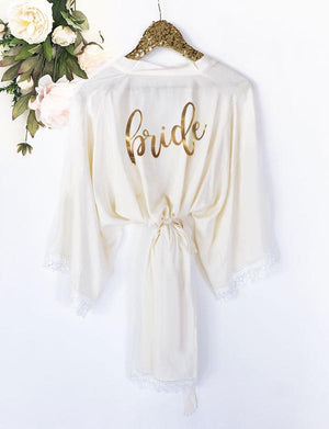 Bridesmaid Robe with Lace Trim - Lucky Maiden