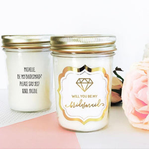 Custom Mason Jar Candle for Bridal Party - Lucky Maiden
