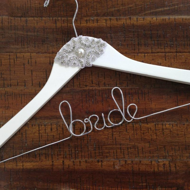 Custom Wedding Hanger with Vintage Style Applique - Lucky Maiden