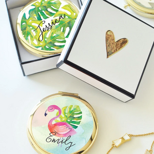 Tropical Theme Custom Compact Mirror - Lucky Maiden