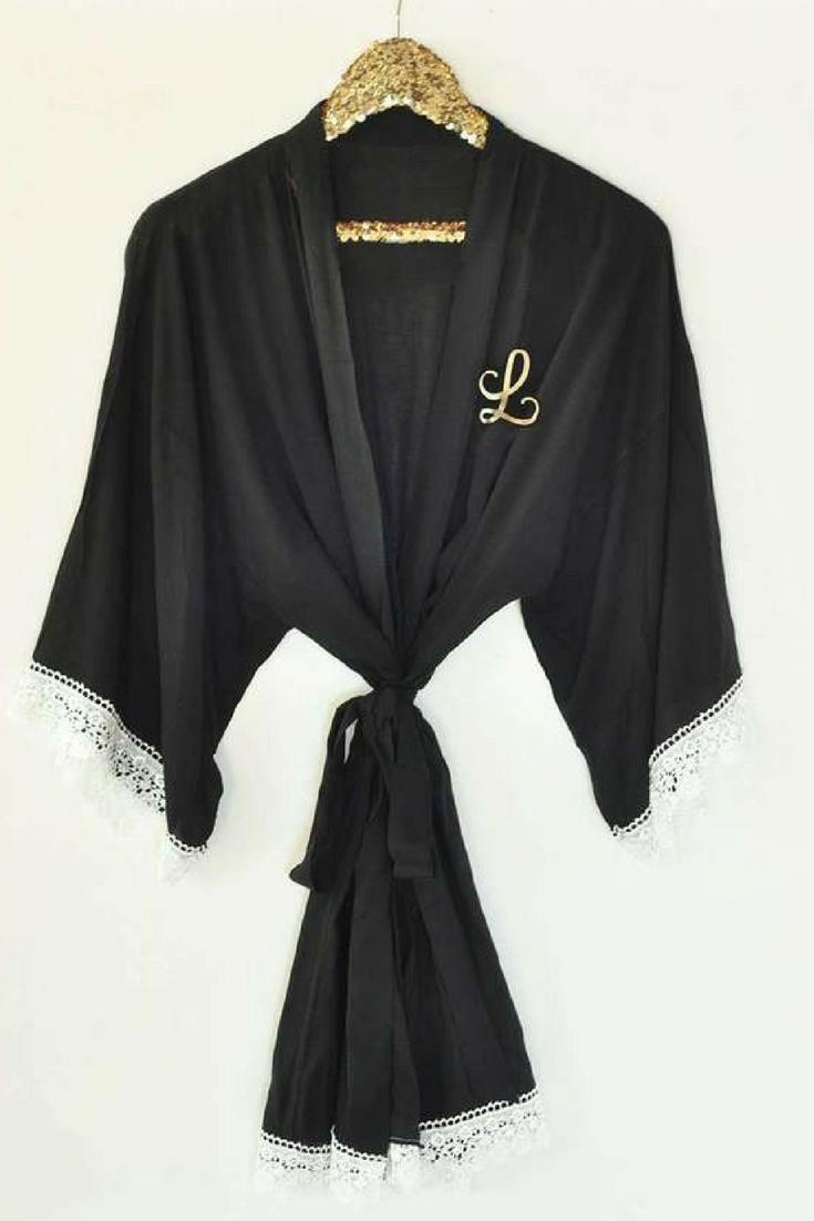Monogram Bridesmaids Robe in Cotton and Lace - Lucky Maiden