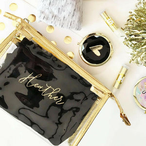 Personalized Bridesmaid Makeup Bag - Lucky Maiden